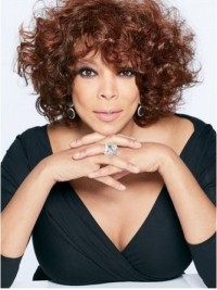 Wendy Williams Auburn Curly Short Capless Synthetic Wigs With Bangs