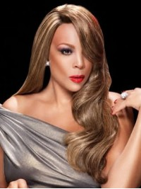 Wendy Williams Long Wavy Capless Human Hair Wigs With Side Bangs