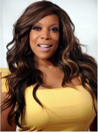Wendy Williams Long Wavy Lace Front Human Hair Wigs With Side Bangs