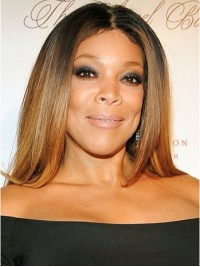Wendy Williams Central Parting Ombre Long Straight Full Lace Human Hair Wigs