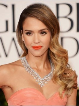 Jessica Alba Long Wavy Lace Front Synthetic Wigs W...