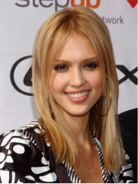 Jessica Alba Blonde Medium Straight Central Parting Full Lace Human Hair Wigs