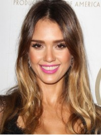 Jessica Alba Central Parting Lace Front Wavy Human Hair Wigs
