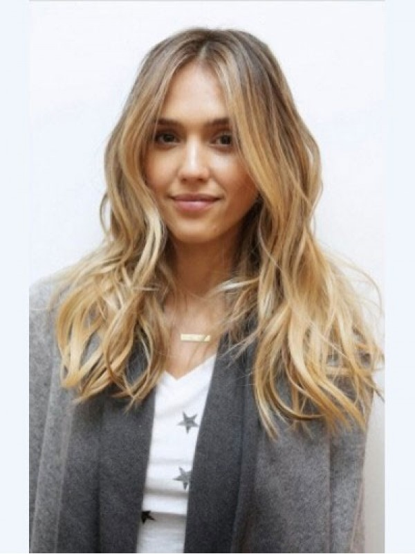 Jessica Alba Long Wavy Central Parting Capless Human Hair Wigs