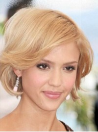 Jessica Alba Layered Blonde Short Wavy Capless Synthetic Wigs With Side Bangs