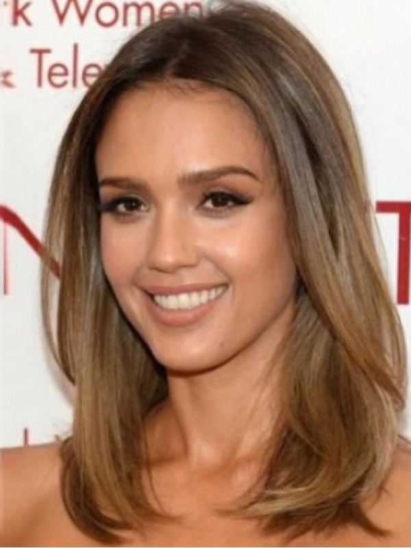 Jessica Alba Central Parting Medium Straight Full Lace Human Hair Wigs