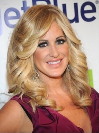 Kim Zolciak Blonde Wavy Long Capless Synthetic Wigs With Side Bangs