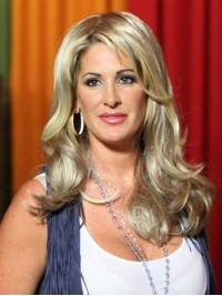 Kim Zolciak Long Wavy Blonde Synthetic Lace Front Wigs With Side Bangs 16 Inches