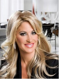 Kim Zolciak Long Wavy Capless Synthetic Wig With Side Bangs