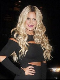 Kim Zolciak Long Wavy Central Parting Lace Front Synthetic Wigs