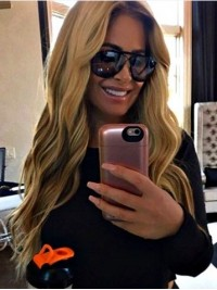 Kim Zolciak Long Blonde Wavy Synthetic Lace Front Wig 20 Inches