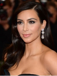 Kim Kardashian Wavy Long Lace Front Human Hair Wigs With Side Bangs 16 Inches