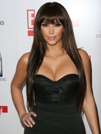 Kim Kardashian Long Straight Synthetic Lace Front Wigs With Bangs