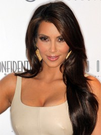 Kim Kardashian Long Brown Wavy Monofilament Synthetic Wigs With Side Bangs 26 Inches