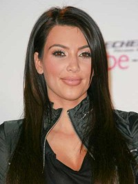 Kim Kardashian Long Black Straight Monofilament Human Hair Wigs With Side Bangs