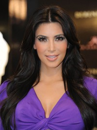 Kim Kardashian Central Pating Long Black Capless Human Hair Wigs
