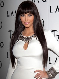 Kim Kardashian Long Straight Lace Front Synthetic Wigs With Bangs
