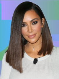 Kim Kardashian Straight Medium Lace Front Human Hair Wigs With Side Bangs
