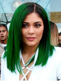 Ombre Kylie Jenner Medium Straight Lace Front Synthetic Wigs With Side Bangs