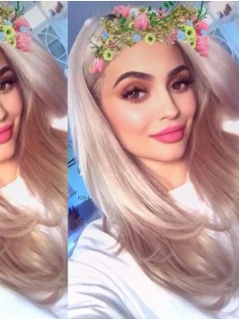 Kylie Jenner Long Straight Synthetic Lace Front Wi...