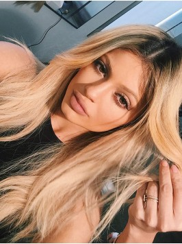 Kylie Jenner Central Parting Long Straight Synthet...