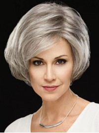 Silvery White Short Straight