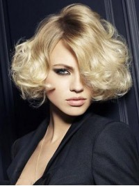 Blonde Short Lace Front Wavy Wig