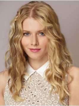 Central Parting Long Blonde Lace Front Wavy Wig