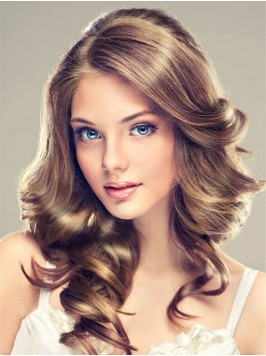 Ligth Brown Long Wavy Lace Front Wig