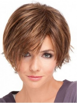 Light Brown Short Straight Lace Front Wig