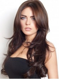 Central Parting Brown Long Wavy Wig