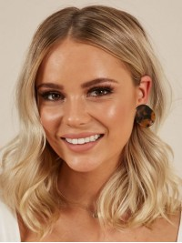 Blonde Central Parting Medium Wavy Lace Front Wigs