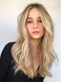 Central Parting Blondw Long Wavy Lace Front Wigs