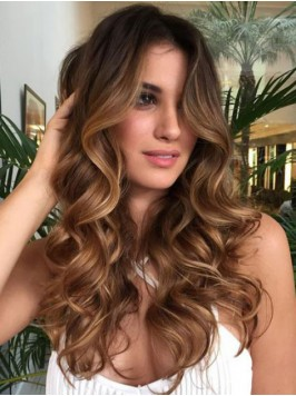 Central Parting Ombre Long Wavy Lace Front Wig