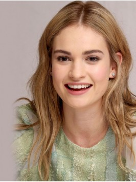 Lily James Central Parting Long Wavy Lace Front Wi...