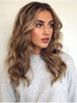 Central Parting Long Wavy Lace Front Wigs