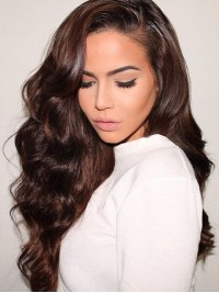 Brown Long Wavy Lace Front Wig