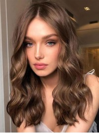Central Parting Long Wavy Lace Front Synthetic Wig 18 Inches