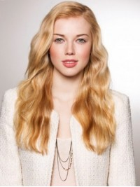 Long Blonde Wavy Lace Front Wig