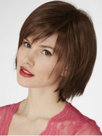 Straight Short Lace Front Synthetic Wig With Bangs 8 Inches