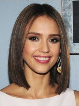 Central Parting Medium Straight Lace Front Wig