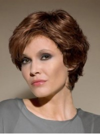 Brown Short Wavy Lace Front Wig