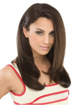 Brown Straight Long Wigs With Side Bangs