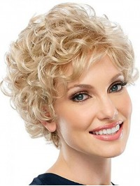 Blonde Curly Short Lace Front Wigs