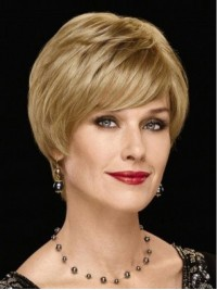 Blonde Short Straight Lace Front Wavy Wig