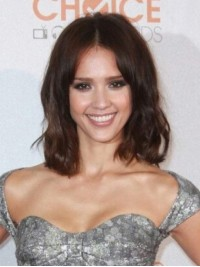 Jessica Alba Central Parting Medium Brown Wavy Lace Front Wigs