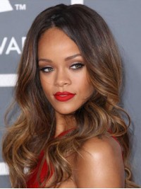 Rihanna Ombre Central Parting Long Wavy Lace Front Wig