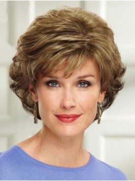 Flaxen Wavy Short Wavy Lace Front Wig