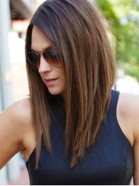 Ombre Long Straight Human Wigs