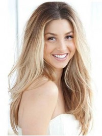 Light Blonde Two Colors Ombre Long Wavy Lace Front Human Hair Wig